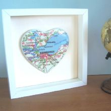 Framed Map Ceramic Heart - Unique Wedding, Anniversary or Valentine's Gift